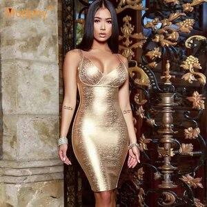 Image 1 - 2020 neue Sommer Gold Verband Kleid Bodycon Vestidos Spaghetti Promi Runway Kleid Sexy Club Kostüm Party Kleid