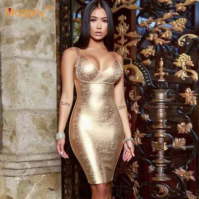 2020 neue Sommer Gold Verband Kleid Bodycon Vestidos Spaghetti Promi Runway Kleid Sexy Club Kostüm Party Kleid