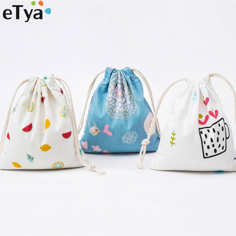 ETya Fashion Drawstring Bag Cotton Women Travel Drawstring Bags Cotton Makeup Toiletry Cloth Underwear Sock Organizer Set Pouch