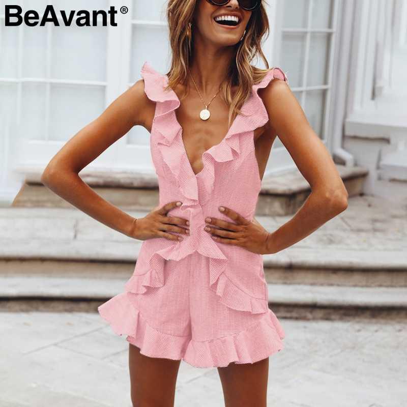 BeAvant сексуальный женский комбинезон с v-образным вырезом и открытой спиной, элегантный короткий комбинезон на шнуровке, повседневный пляжный Летний комбинезон