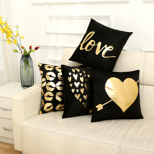 Polyester Square Letter Love Animal Soft Pillowcase Gilding Home Sofa Seat Cushion Cover Single-sided Printing Decoration Gift
