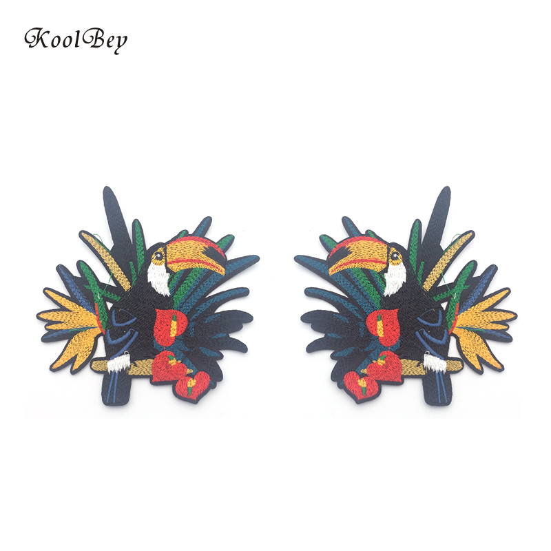 2 pcs//lot Flower Craft Sewing Embroidered Sew//Iron On Applique Patch Birds New