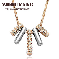 ZHOUYANG Top Quality ZYN078 String of Happiness Rose Gold Color Pendant Necklace Jewelry Austrian Crystal Wholesale