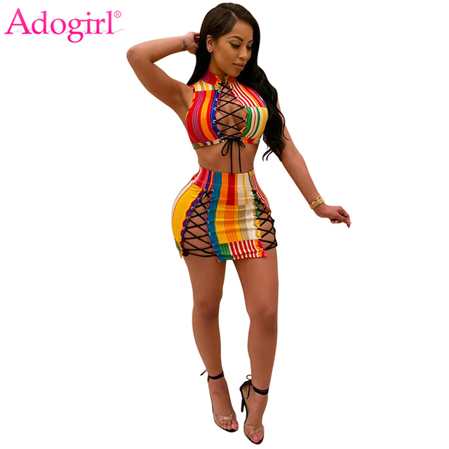 d6eb663f78 Adogirl Colorful Stripe Grommet Lace Up Women Suits Sleeveless Crop Top  Bodycon Mini Skirt Sexy Two