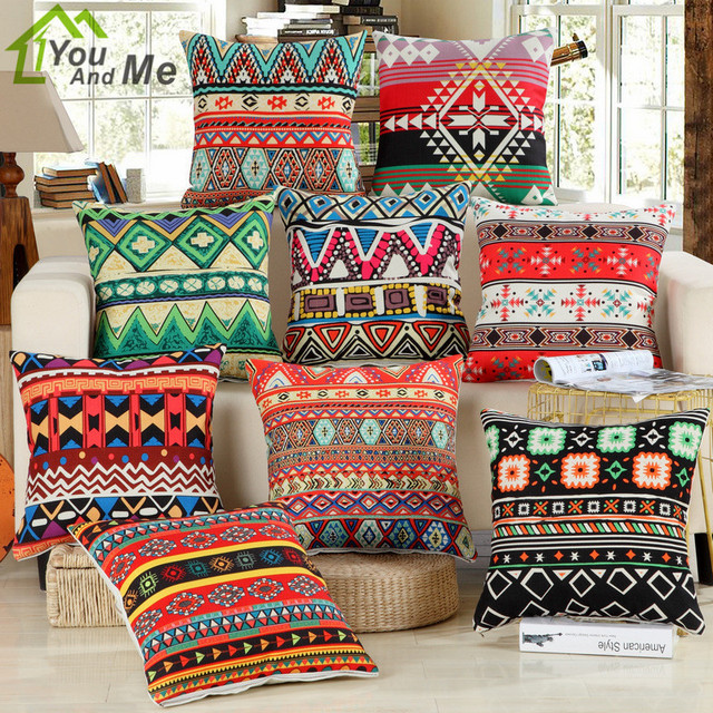 45x45cm Ethnic Style Printed Bamboo Linen Cushion Cover Home Decor
