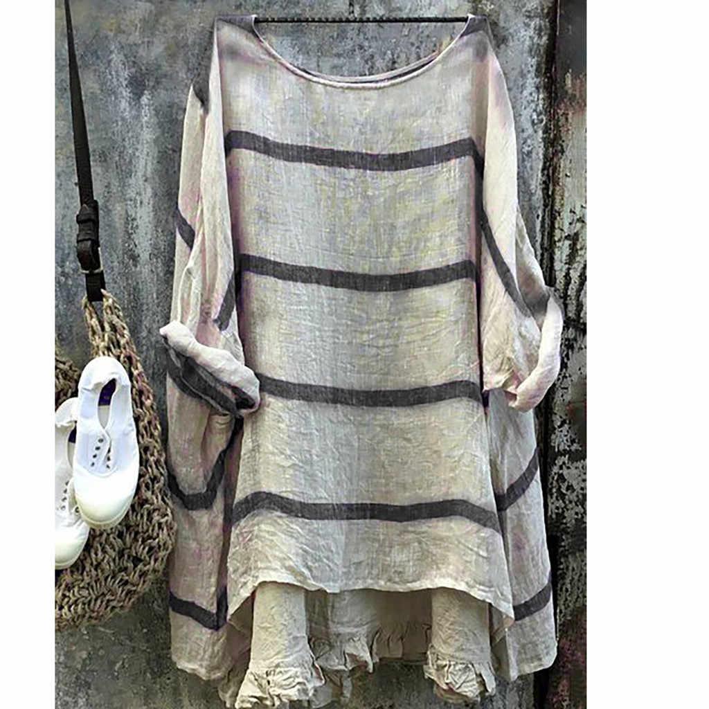 ヴィンテージストライプレディースリネンカジュアル長袖だぶだぶの綿リネンシャツはカジュアルな女性のブラウスとトッププラスサイズ 5XL 5.78