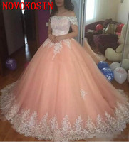 2019 Latest Off Shoulder Quinceanera Dresses Satin Appliques Lace Up Back Ball Gown Prom Dresses Sweet 16 Quinceanera Gowns