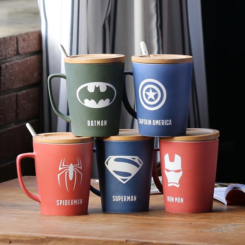 Fashion Super Hero Iron man Captain America Spiderman Ceramic Mugs Creative Deadpool Hulk Mug Cartoon The