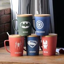 Мода Super Hero Железный человек Капитан Америка Человек-паук Керамика Кружки Творческий Дэдпул Халк кружка мультфильм Мстители чашки крышкой, ложка