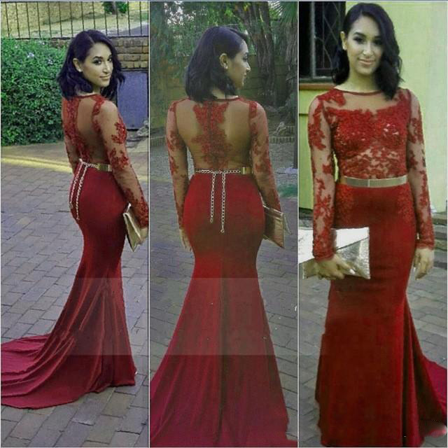 Dark Red 2017 Prom Dresses With See Through Lace Long