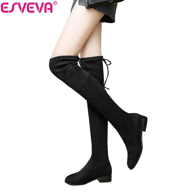 ESVEVA 2019 Über Die Knie Stiefel Platz Med Ferse Frauen Stiefel Sexy Damen Spitze Up Stretch Stoff Mode Stiefel schuhe größe 34-43