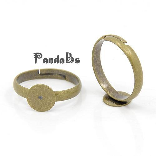 100pcs Adjustable Antique Bronze Brass Pad Finger Ring Bases, Lead Free, Cadmium Free and Nickel Free, Ring: about 3x17mm