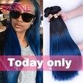 7A Brazilian Straight Hair Natural Black Blue Ombre Hair Weave 4 Bundles Rosa Hair Products Ombre Brazilian Virgin Hair Straight