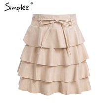 Simplee Ruffles A-line mini skirt Sexy Bow high waist short skirt women 2018 Sash autumn winter skirts female casual streetwear