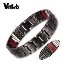 Vinterly黒ブレスレット男性純チタン磁気ブレスレット用男性パンク健康マルチゲルマニウムワイドブレスレット腕輪ジュエリー