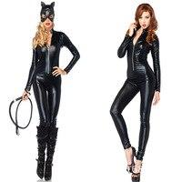 2016 New Sexy Cat Suit Fancy Dress Shiny Super Hero Black Animal Leather Cat Womens Costume