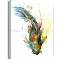 Free Shipping High Quality Handmade Unique Wall Art Fish Animal Pictures Handmade Animal Catfish Oil Painting for Living Room