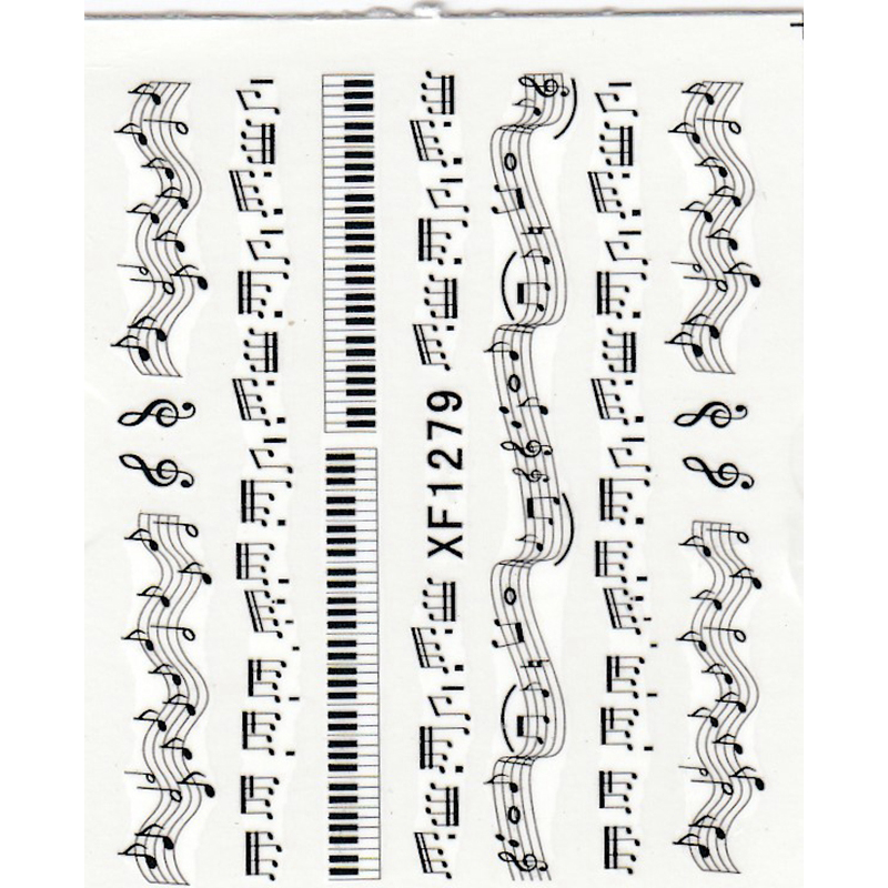 NEW 1 Sheet Music Note Melody Water Decals Art Accessories Transfer Stickers Tips Decoration Nail Salon DIY XF1279 yzwle 1 sheet diy decals nails art water transfer printing stickers accessories for manicure salon yzw 8161 page 2