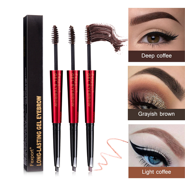 Fexport Dual Head Eyebrow Pencil With Eyebrow Brush Waterproof Long