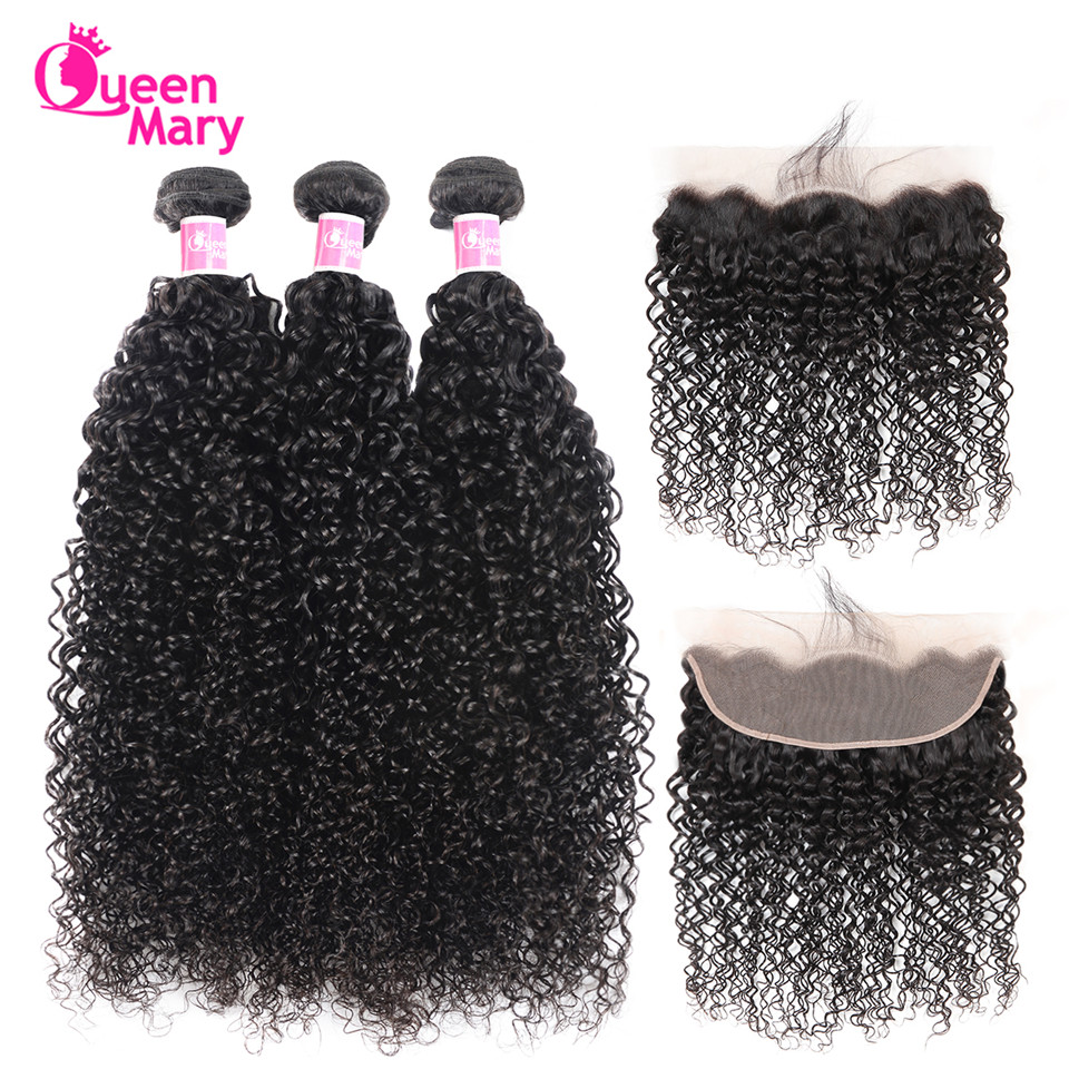 Brazilian Kinky Curly Hair Lace Frontal Closure With Bundles Queen Mary Non Remy Human Hair 3 Bundles With Lace Frontal Closure
