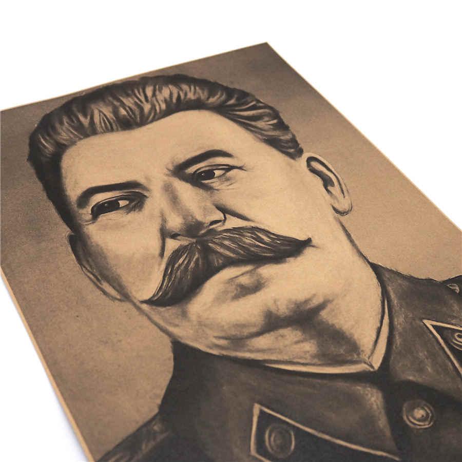 Stalin Potret Film Retro Vintage Poster Retro Lukisan Kertas Kualitas Tinggi Cetak Living Room Bar Cafe Pub Dekorasi 42X30 Cm MXC033
