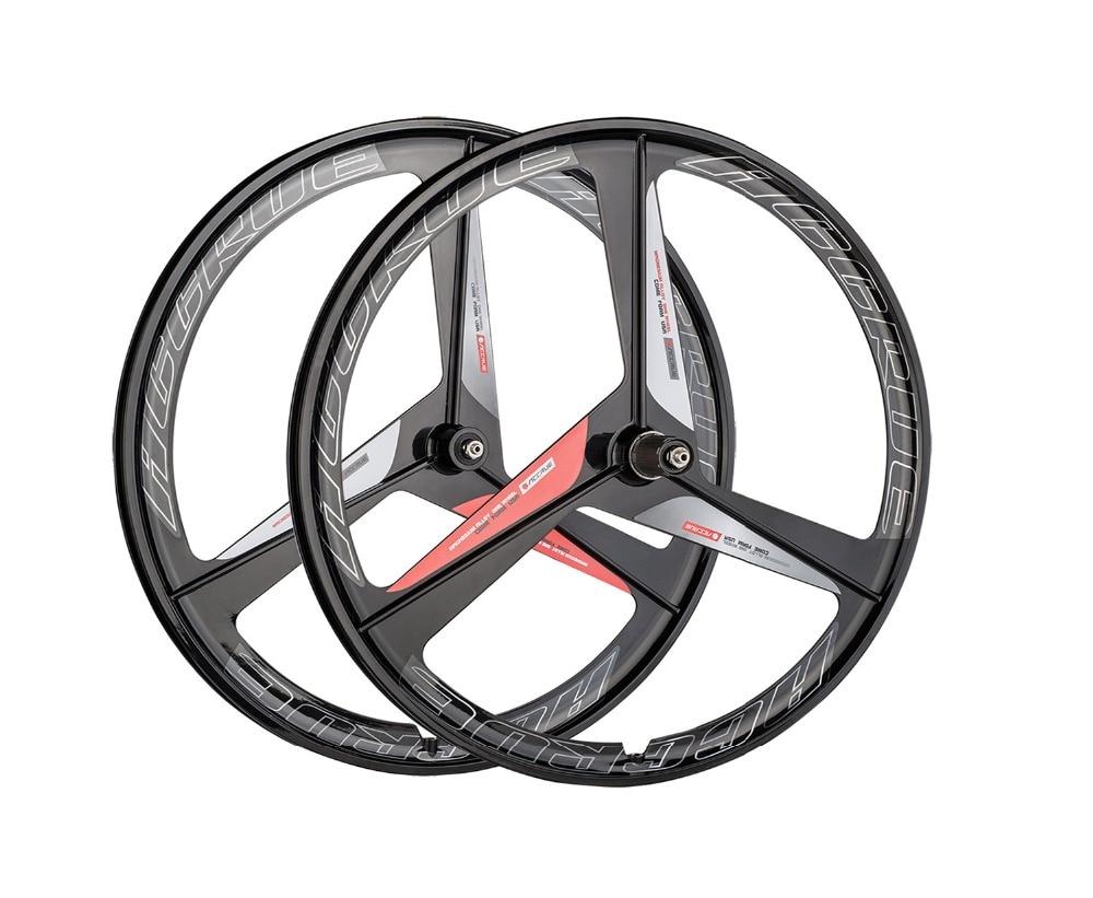 Magnesium Alloy wheel road bike wheel set 3 spokes fixie Bicycle wheel Mag Alloy Fixed gear bike wheels