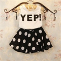 2017 Girls Summer Clothes Set Kids White Top T-shirt and Black polka dot Skirt  Children Suits Clothing Set 8270