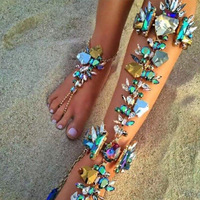 Fashion Rhinestone Crystal Anklets Barefoot Sandals Foot Jewelry Summer Beach Sexy Body Chain Anklet Bracelets Chaine De Pied