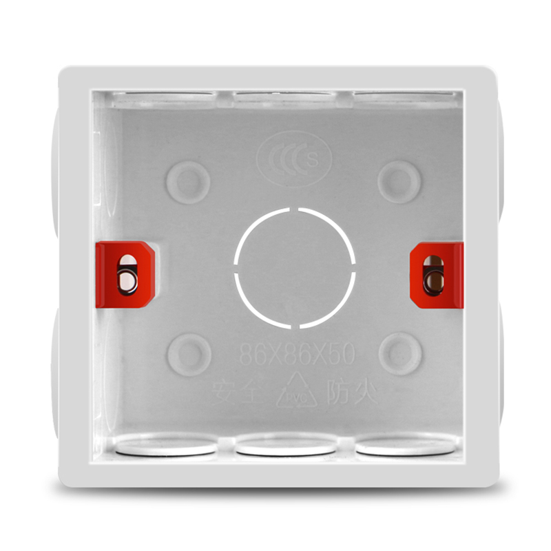 Adjustable 86 Switch Socket Box,Mount Back Box Plasterboad 50mm Depth Wall Switch Wall Socket Mounting Cassette BOX,83*81*50mm