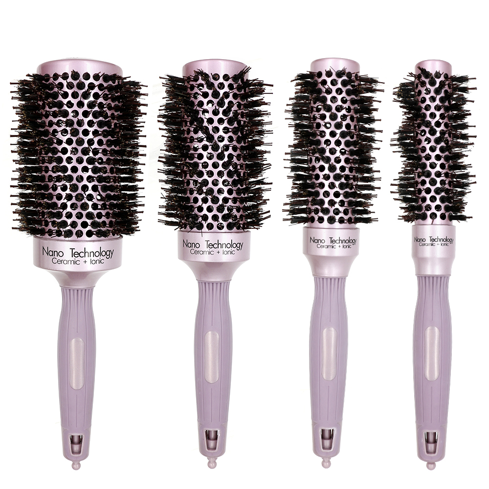 High Quality Rose Gold Professional Boar Bristle Comb Nano Technology Ionic Hair Ceramic Brush Comb For Hair Curling Anti Static цены