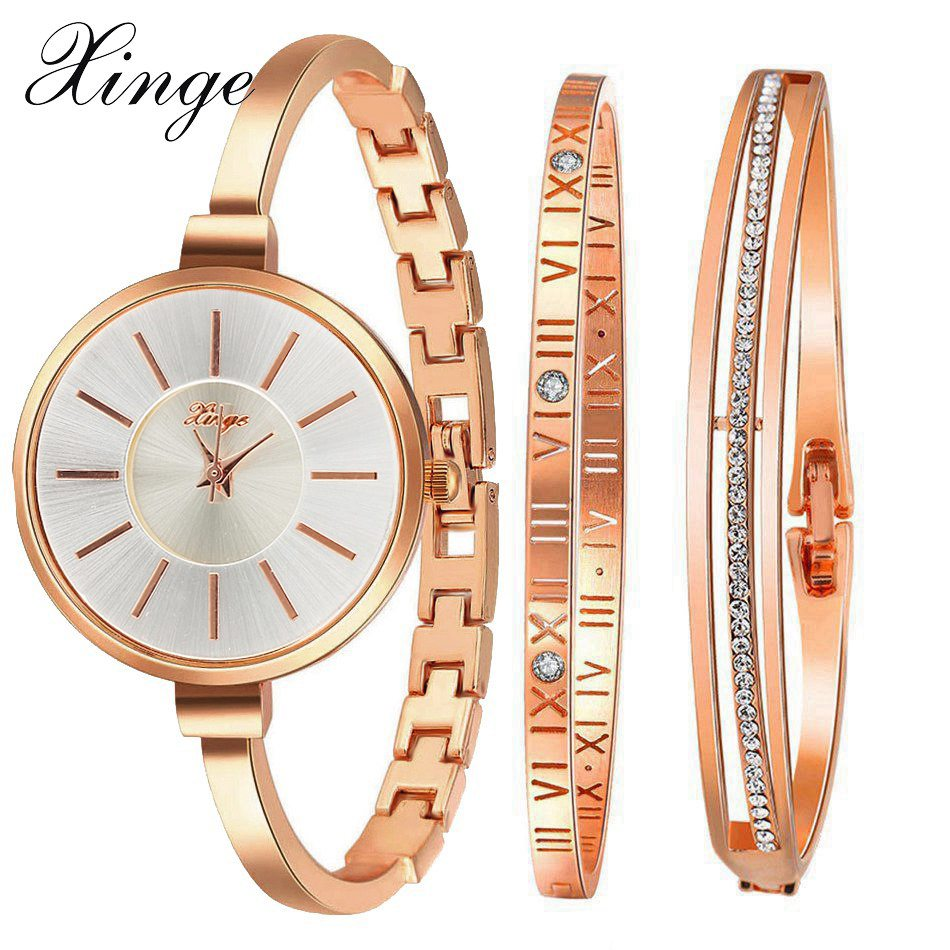 Xinge Famous Brand Luxury Watch Women Fashion Rose Bracelet Watch Set Dress Jewelry Clock Ladies Casual Quartz Wristwatch XG609 xinge brand watch women bracelet rhinestone chain bangles jewelry watch set wristwatch waterproof ladies gold quartz watch