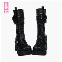 Princess sweet punk shoes spring Boot punk boots cool girl and fashion cross strap with thick bottom Muffin women pu7002