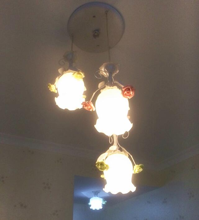 Pastoral village glass flower shade pendant lights wrought iron farm garden Three head lamp droplight Bright lights FG689