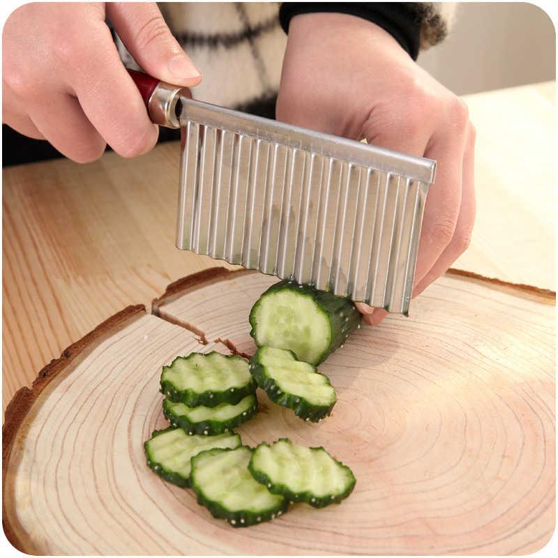 Ziemniaków niszczarki krajalnice fala cięcia warzyw ogórek Cozinha gadżet 304 nóż ze stali nierdzewnej nóż kuchenny akcesoria narzędzia