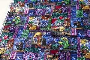 Image 4 - Полуметровая хлопковая ткань Лоскутная стеганая ткань красота и чудовище хлопок Белль витражное стекло