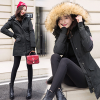 BIBOYAMALL Hooded Long Cotton Coat Slin Long Sleeve Parkas Mujer Invierno 2017 Casual Black Padded Winter