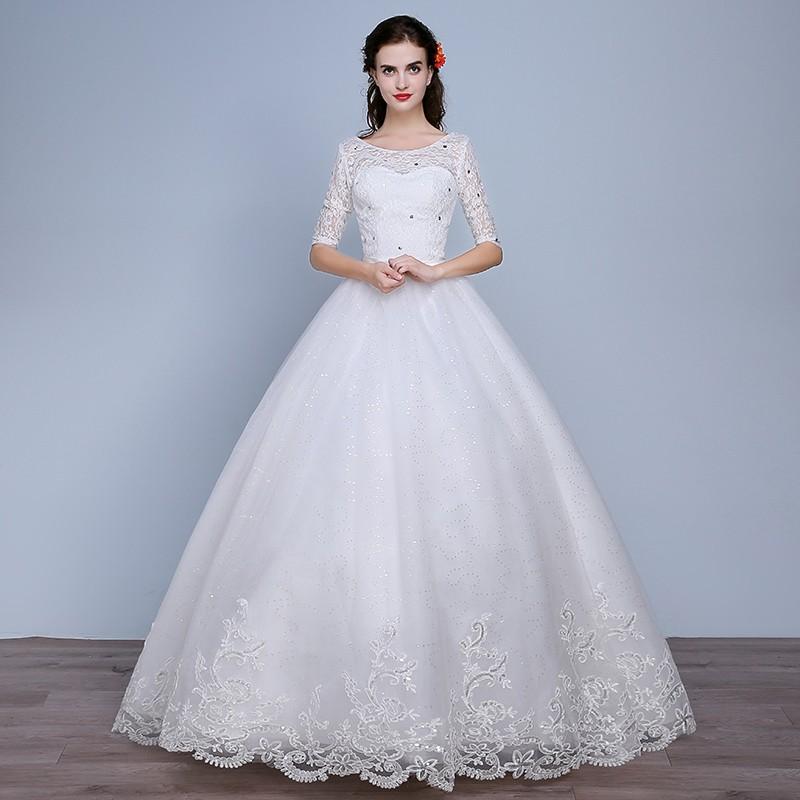 Fashion Plus Size Wedding Dress 2016 Women Lace Sweetheart Half Sleeve Vestidos De Noiva WD2672 (2)