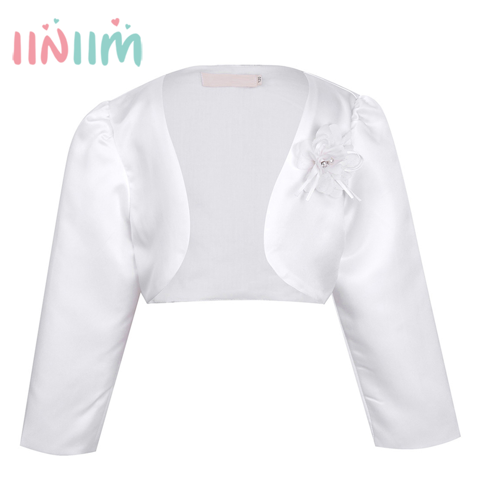 iiniim Kids Girls Long Sleeves Clothing Bolero Jacket Shrug Short Cardigan Sweater Dress Weeding Outerwear Party Coats Cover Up long sleeves layered swing sweater dress