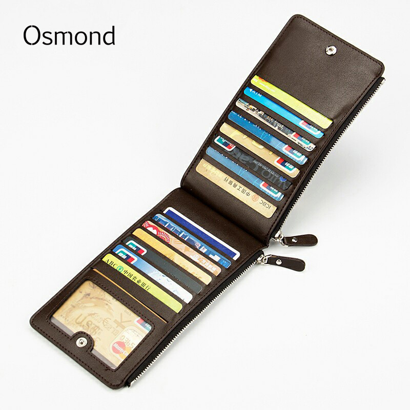 Osmond Top Leather Card Holders Mens Multi Large Capacity Cards Wallet Zipper Hasp Purse Mens ID Credit Wallets Money Pouch купить в Москве 2019