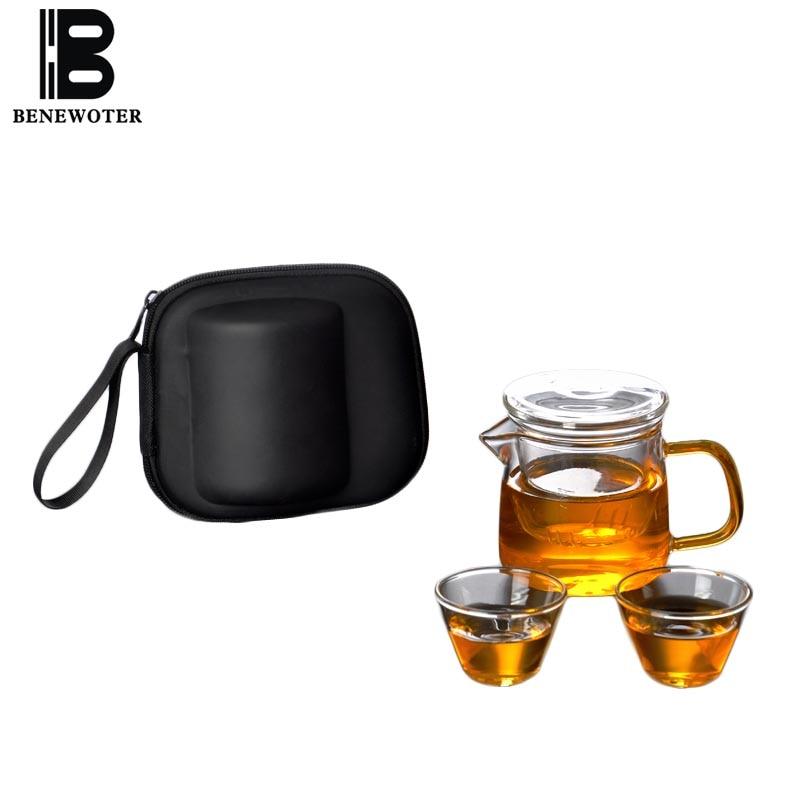 Heat Resistant Glass Kettle Teacup Outdoor Travel Portable Kung Fu Tea Set 1 Teapot 2 Teacup Quick Cup Teaware Sets Storage Bags