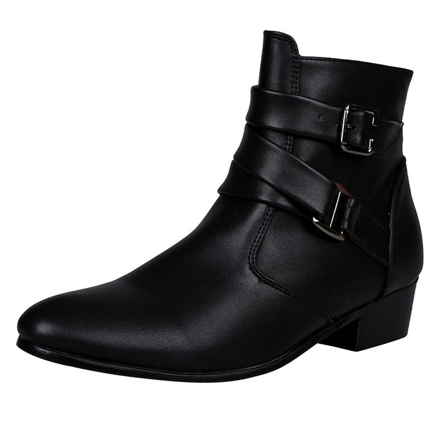 Men Boots Winter 2018 Leather 숏 Boot British Style Shoes Flat 힐 일 Boot 오토바이 Short Boots 캐주얼 발목 Shoes