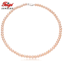 Classic Style Womens Freshwater Pearl Necklaces 7-8mm Pink Natural Choker Fine Jewelry By FEIGE