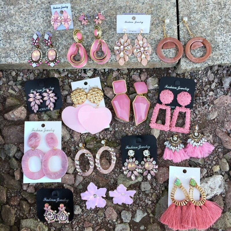 Ztech Fashion Orange Pink Resin Tassel Drop Earrings For Women Girls Za Wedding Jewelry 32 Designs Dangle Statement Earrings