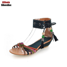 fashion euro women sandals flats gladiator colored beads wedge platform sandals handmade vintage bohemia beach flats 35-43