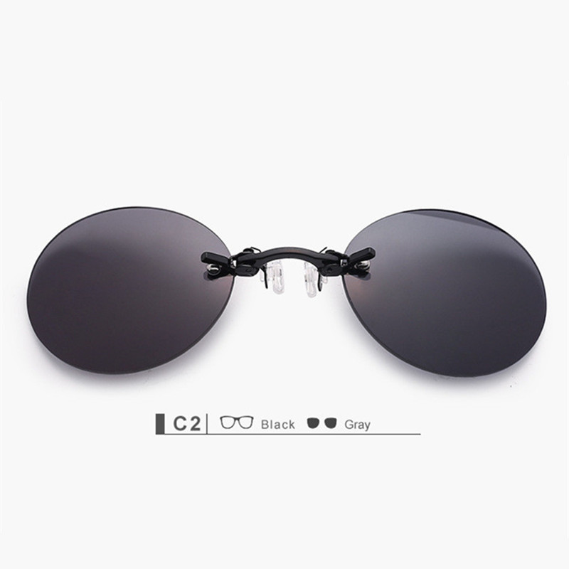 YOOSKE Clip On Nose Sunglasses Pria Vintage Hacker Empire Matrix Morpheus Rimless Sun Glasses Bulat Kacamata UV400 Hitam
