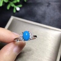 Natural turquoise ring, blue, rare gemstone, 925 sterling silver, natural gem store