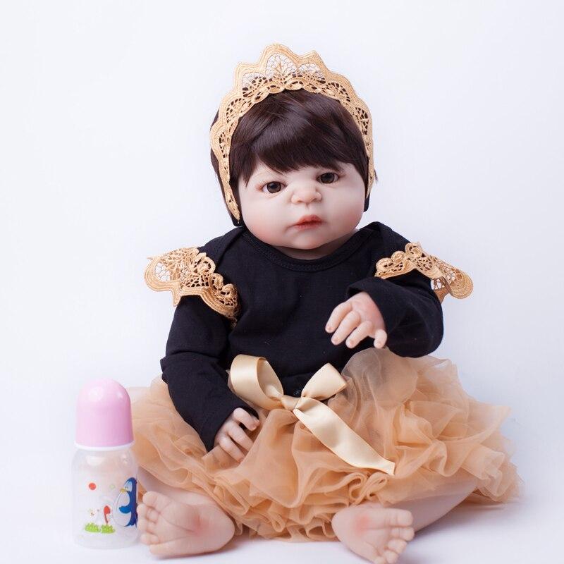55 cm Volle Körper Silikon Reborn Baby Puppe Spielzeug Lebensechte Baby-Reborn Prinzessin Puppe Kind Geburtstag Weihnachten Geschenk Mädchen brinquedos