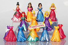 7pcs/lot Princess Snow White Mermaid pretty woman Action Figures PVC Beauty Girls Toys Free Collection
