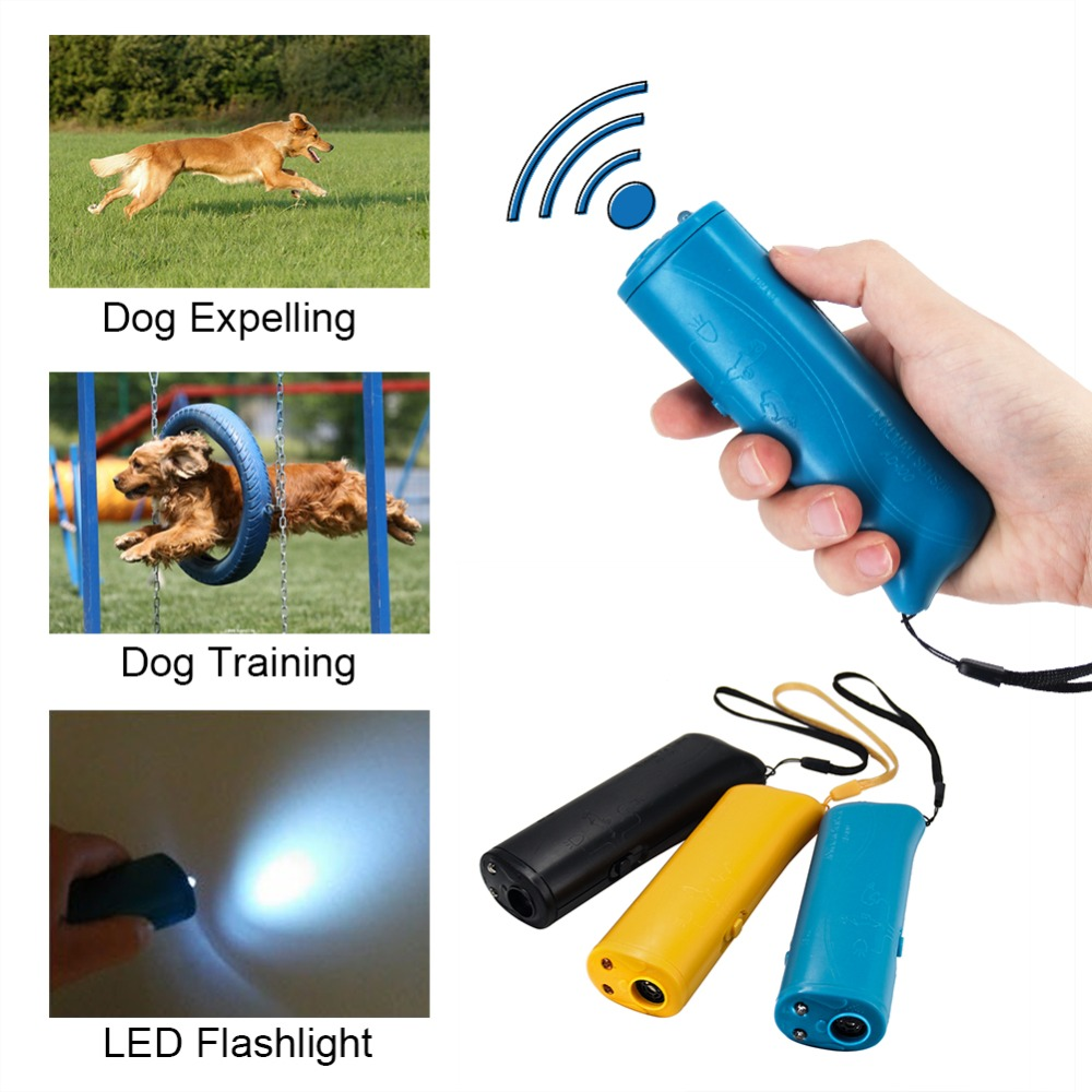 3 In 1 LED Pet Dog Ultrasonic Repeller Repellents Anti Barking Stop Bark Trainer Illumination Dog Training Remote Control Device in Repellents from Home Garden