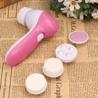 5 in 1 Pink Electric Facial Cleaner Face Skin Care Brush Massager Waterproof Spin Body  Facial Pore Cleaner Face Massager 5